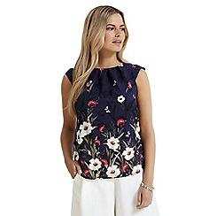 Apricot - Navy floral print cap sleeves top