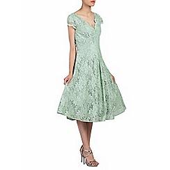 Jolie Moi - Light green scalloped v neck cap sleeve lace dress