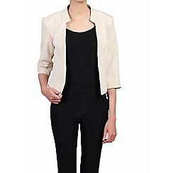 Jolie Moi - Cream 3/4 sleeves open front blazer