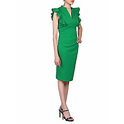 Jolie Moi - Green frill shoulder detail dress