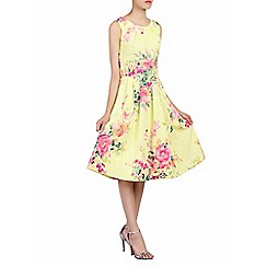 Jolie Moi - Yellow floral print 50s pleated dress