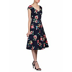 Jolie Moi - Navy floral print 50s fit & flare dress
