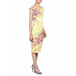 Jolie Moi - Yellow floral print 40s wiggle dress