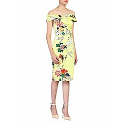 Jolie Moi - Yellow floral print bardot dress