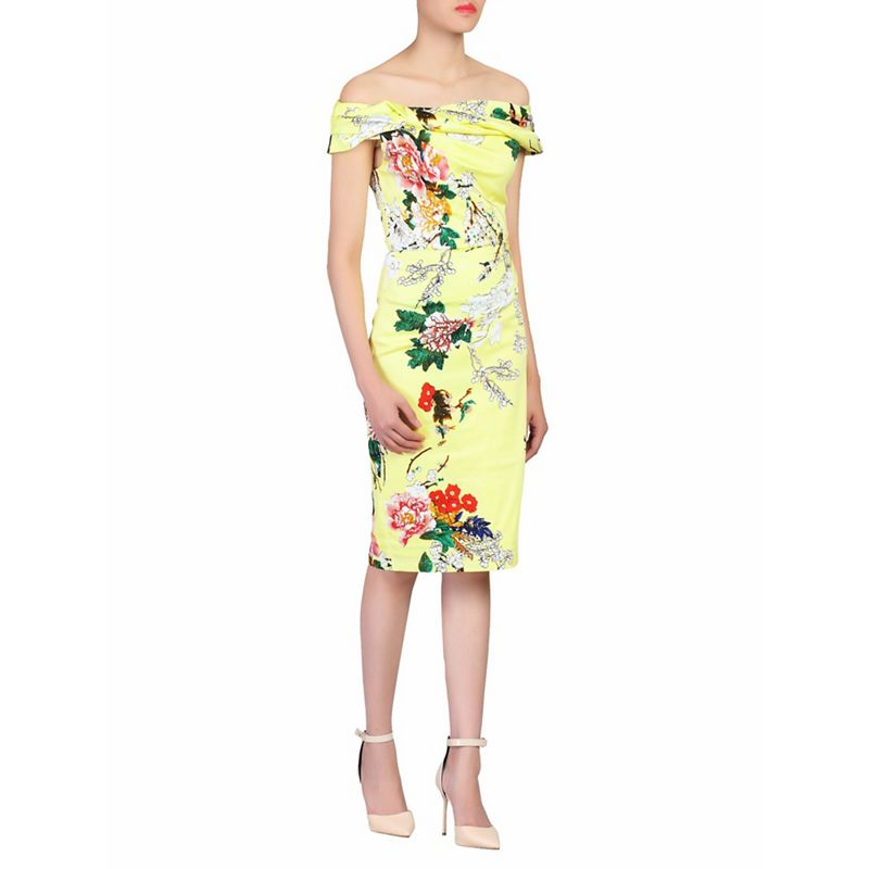 Jolie Moi Yellow floral print bardot dress