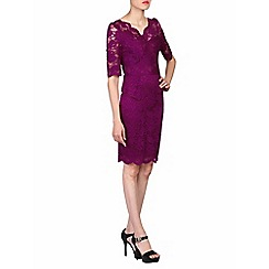 Jolie Moi - Purple scalloped v neck lace bodycon dress