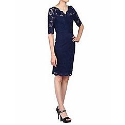 Jolie Moi - Navy scalloped v neck lace bodycon dress