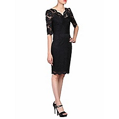 Jolie Moi - Black scalloped v neck lace bodycon dress