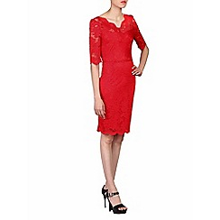 Jolie Moi - Red scalloped v neck lace bodycon dress