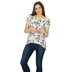 Izabel London - White short sleeves floral print blouse top