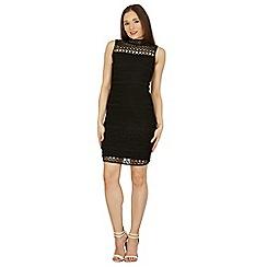 Izabel London - Black sleeveless cage detail bodycon dress