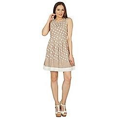 Izabel London - Camel polka dot lace detail fit & flare dress