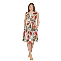 Izabel London - White polka dot fit & flare dress