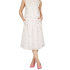 Cutie - White cool flamingo print skirt