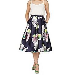 Cutie - Navy floral print a-line skirt