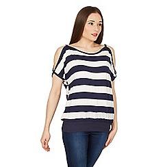 Izabel London - Navy stripe print cold shoulder top