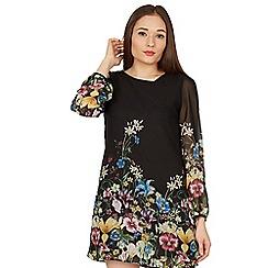 Izabel London - Black floral print chiffon sleeve shift dress
