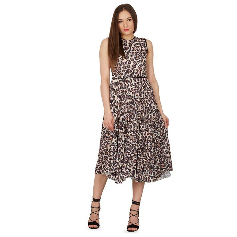 Izabel London Brown leopard print pleat skirt midi dress