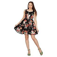 Izabel London - Black sweetheart neckfloral skater dress