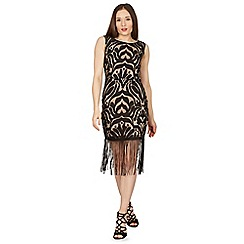 Izabel London - Black fringe detail lace bodycon dress