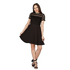Izabel London - Black lace insert skater dress