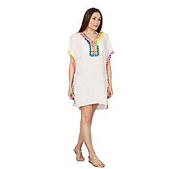 Izabel London - White pom pom trim kaftan dress