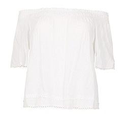 Samya - White short sleeves bardot style top