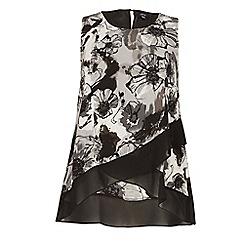 Samya - Black plus size flower print wrap top