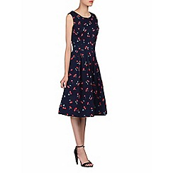 Jolie Moi - Navy floral print pleated 50s dress