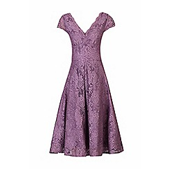 Jolie Moi - Mauve cap sleeves fit & flare lace dress
