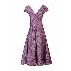Jolie Moi - Mauve cap sleeves fit & flare lace dress