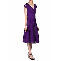 Jolie Moi - Purple cap sleeves fit & flare lace dress