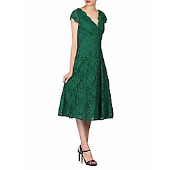 Jolie Moi - Green cap sleeves fit & flare lace dress