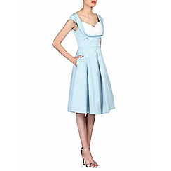 Jolie Moi - Blue contrast crossover bust prom dress