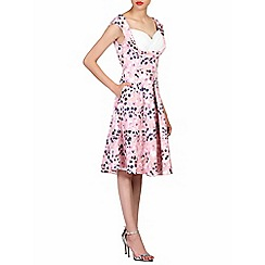 Jolie Moi - Pink floral print contrast prom dress