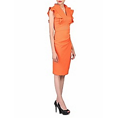 Jolie Moi - Orange frill shoulder detail dress