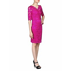 Jolie Moi - Pink scalloped v-neck lace bodycon dress