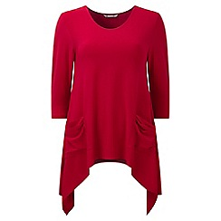 Lavitta - Red jersey 3/4 sleeves hanky hem top