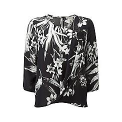 Lavitta - Grey leaf pleat front blouse
