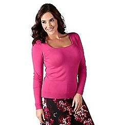 Lavitta - Cerise stretch square neck jumper