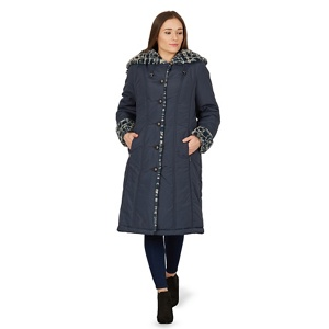 David Barry Navy ladies faux fur trimmed raincoat