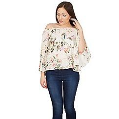 Izabel London - White fluted sleeves floral print bardot top