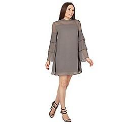 Blue Vanilla - Grey tiered ruffle swing dress