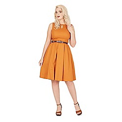 Lindy Bop - Orange lily cotton swing dress