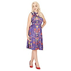 Lindy Bop - Purple jessie quaint floral day dress