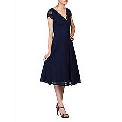 Jolie Moi - Navy cap sleeves fit & flare lace dress
