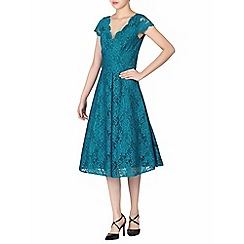 Jolie Moi - Turquoise cap sleeves fit & flare lace dress