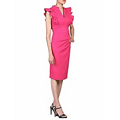 Jolie Moi - Cerise frill shoulder detail dress