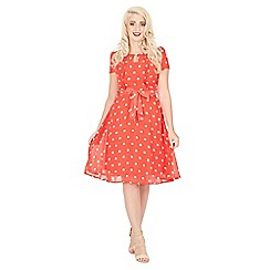 Lindy Bop - Pink bretta polka tea dress