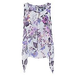 Roman Originals - Lilac floral asymmetric top